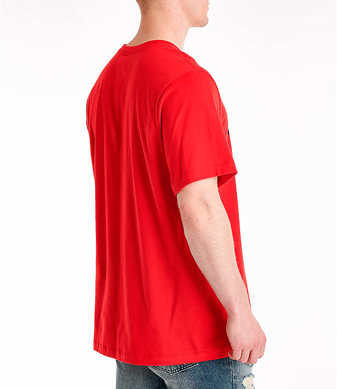 Back Right view of Men's Nike Sportswear Just Do It Swoosh T-Shirt in University Red/Black
