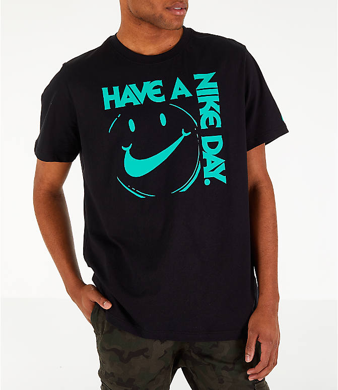 Front view of Men's Nike Sportswear Have a Nike Day T-Shirt in Black/Jade