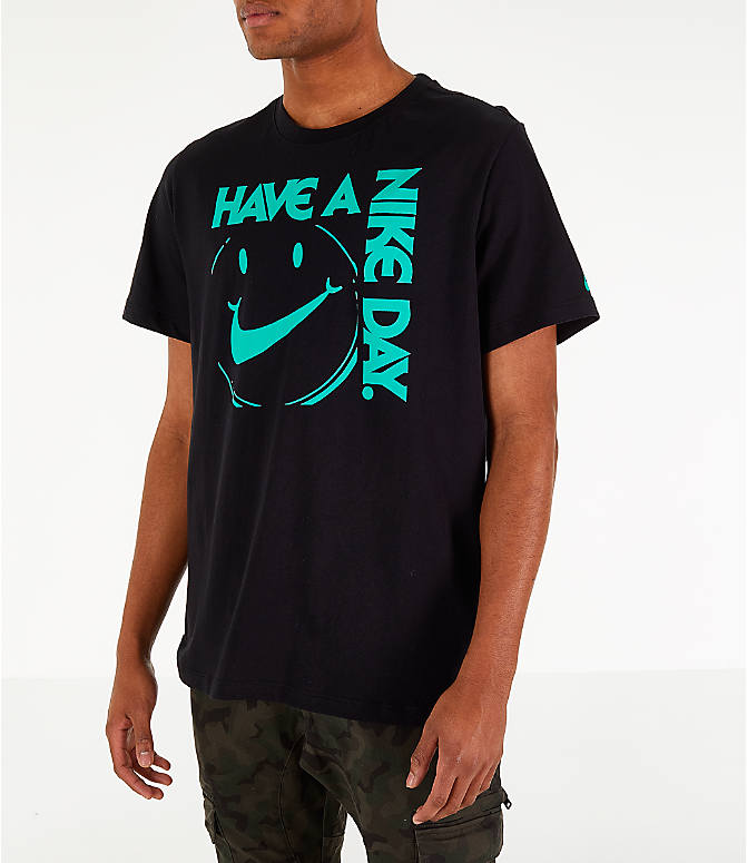 Front Three Quarter view of Men's Nike Sportswear Have a Nike Day T-Shirt in Black/Jade