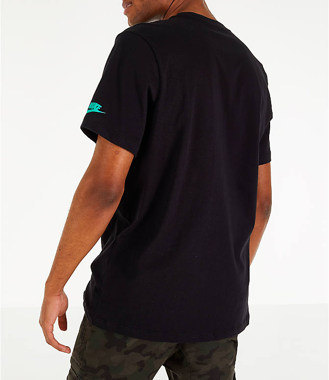 Back Left view of Men's Nike Sportswear Have a Nike Day T-Shirt in Black/Jade