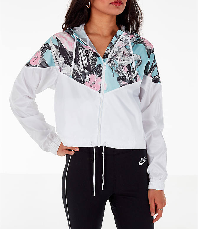 Front view of Women's Nike Sportswear Crop Floral Jacket in Floral Pink/White