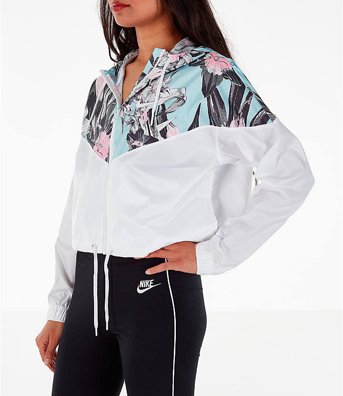 Front Three Quarter view of Women's Nike Sportswear Crop Floral Jacket in Floral Pink/White