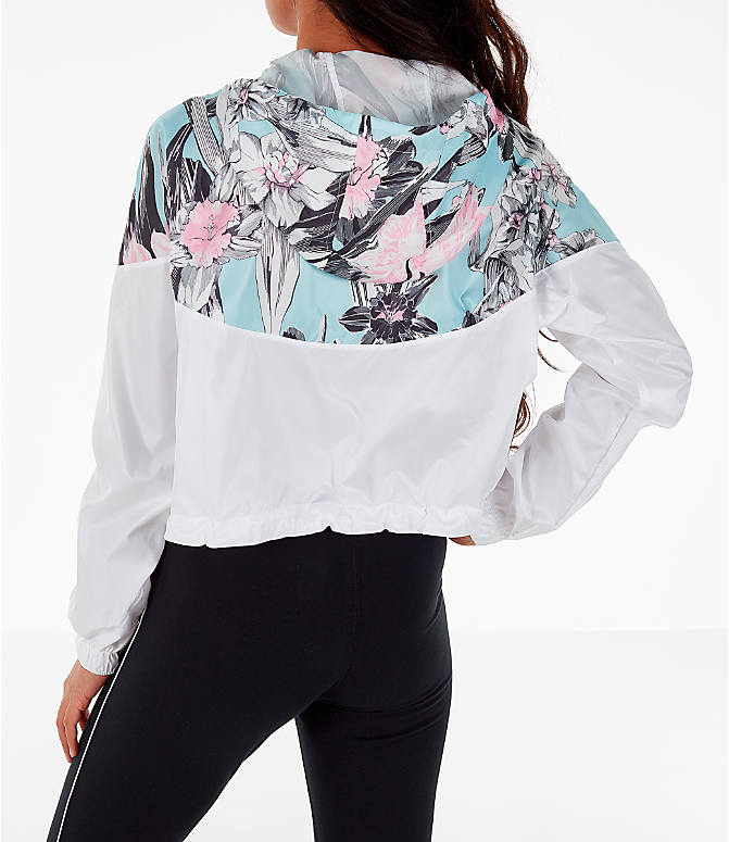 Back Left view of Women's Nike Sportswear Crop Floral Jacket in Floral Pink/White