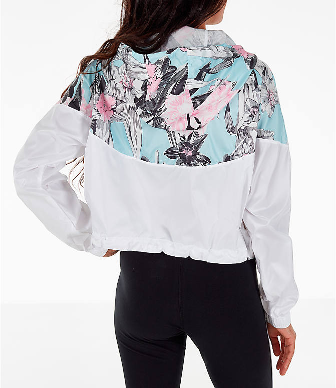 Back Right view of Women's Nike Sportswear Crop Floral Jacket in Floral Pink/White
