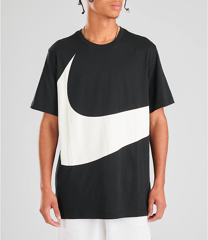7d0a84a18 Front view of Men's Nike Sportswear HBR Swoosh T-Shirt in Black/White