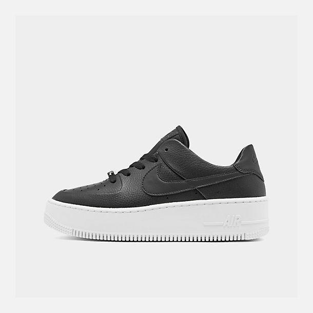 Right view of Women's Nike Air Force 1 Sage XX Low Casual Shoes in Black/Black/White