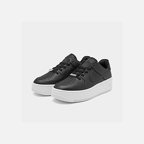 Three Quarter view of Women's Nike Air Force 1 Sage XX Low Casual Shoes in Black/Black/White