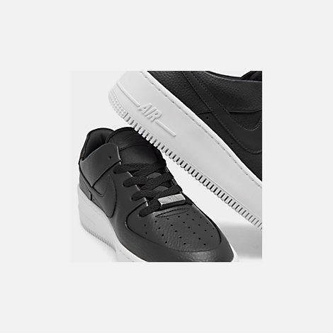 Front view of Women's Nike Air Force 1 Sage XX Low Casual Shoes in Black/Black/White