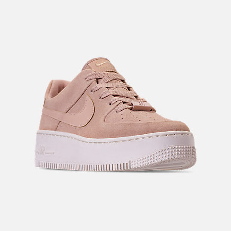 Three Quarter view of Women's Nike AF1 Sage XX Low Casual Shoes in Particle Beige/Particle Beige/Phantom