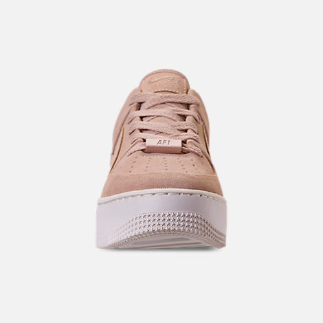 Front view of Women's Nike AF1 Sage XX Low Casual Shoes in Particle Beige/Particle Beige/Phantom