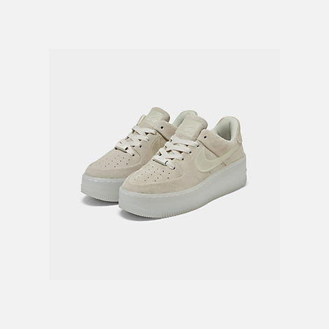 Three Quarter view of Women's Nike Air Force 1 Sage Low LX Casual Shoes in Phantom/White