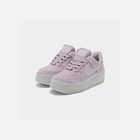 Three Quarter view of Women's Nike Air Force 1 Sage Low LX Casual Shoes in Violet Mist/Violet Mist