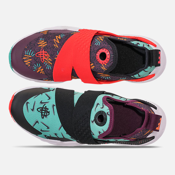 Top view of Boys' Little Kids' Nike Huarache Extreme Premium Casual Shoes in Bordeaux/Black/Bright Crimson/Hyper Jade