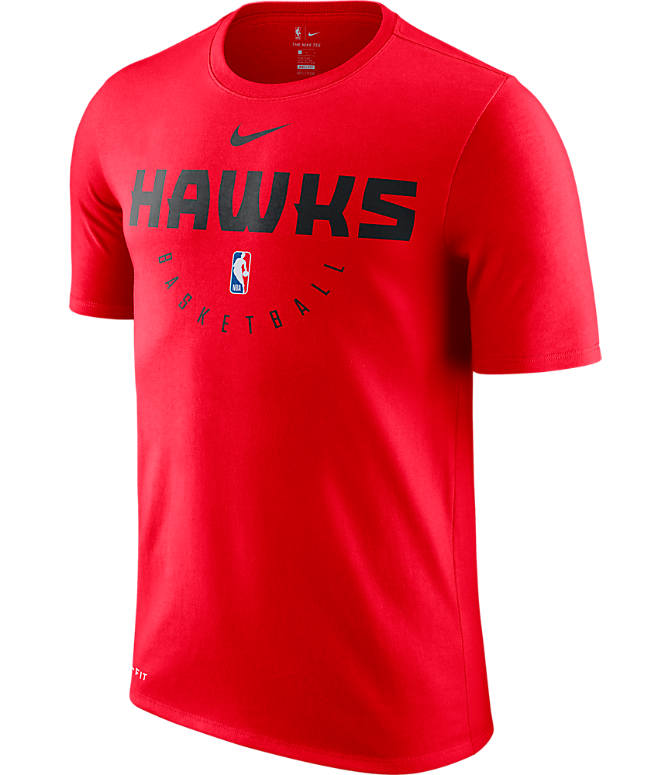 Front view of Men's Nike Atlanta Hawks NBA Dri-FIT Practice T-Shirt in University Red