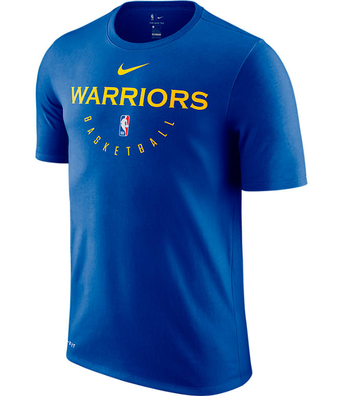 Front view of Men's Nike Golden State Warriors NBA Dri-FIT Practice T-Shirt in Rush Blue