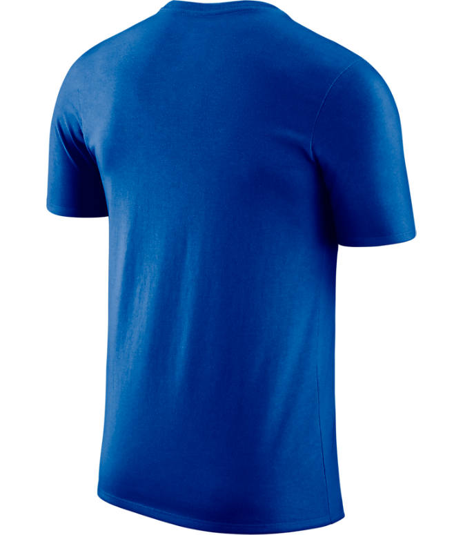 Back view of Men's Nike Golden State Warriors NBA Dri-FIT Practice T-Shirt in Rush Blue