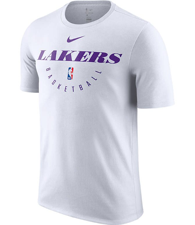 Front view of Men's Nike Los Angeles Lakers NBA Dri-FIT Practice T-Shirt in White