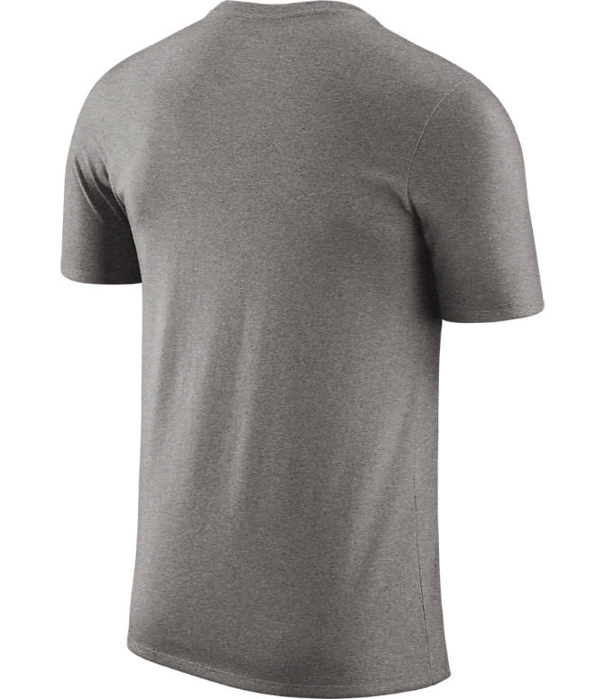 Back view of Men's Nike New York Knicks NBA Dri-FIT Practice T-Shirt in Dark Grey Heather