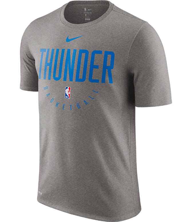 Front view of Men's Nike Oklahoma City Thunder NBA Dri-FIT Practice T-Shirt in Dark Grey Heather