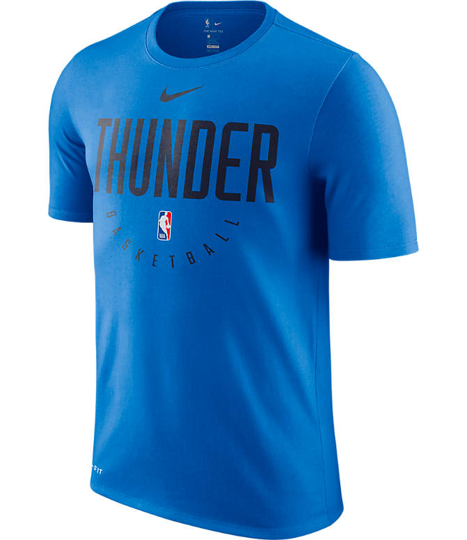 Front view of Men's Nike Oklahoma City Thunder NBA Dri-FIT Practice T-Shirt in Signal Blue