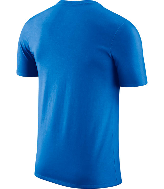Back view of Men's Nike Oklahoma City Thunder NBA Dri-FIT Practice T-Shirt in Signal Blue