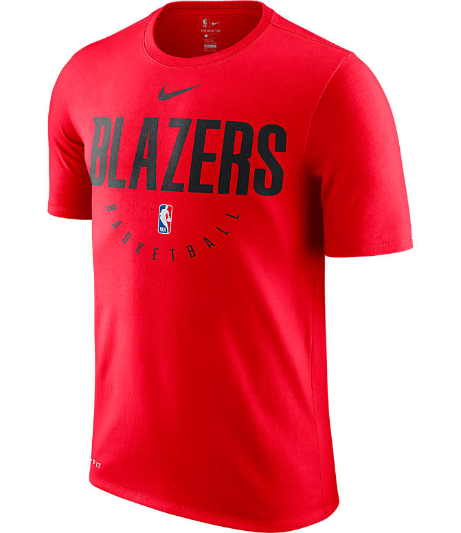 Front view of Men's Nike Portland Trail Blazers NBA Dri-FIT Practice T-Shirt in University Red