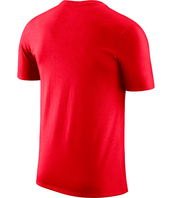 Back view of Men's Nike Portland Trail Blazers NBA Dri-FIT Practice T-Shirt in University Red