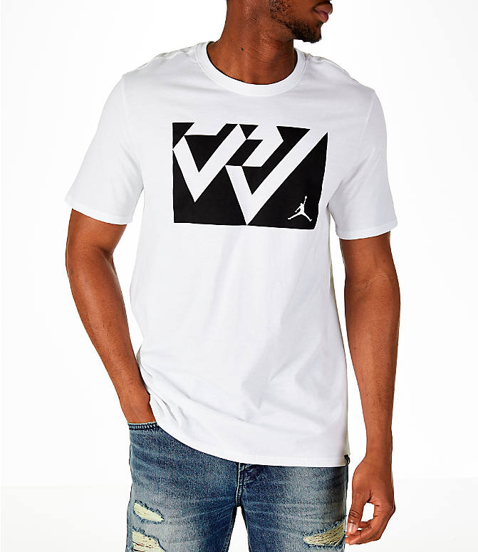Front view of Men's Air Jordan Russell Westbrook Box T-Shirt in White/Black