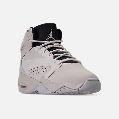 Three Quarter view of Boys' Big Kids' Air Jordan Lift Off Basketball Shoes in Light Bone/Reflect Silver/Grey Fog/Black