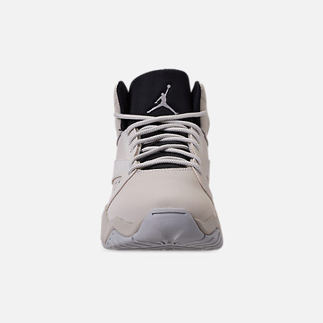 Front view of Boys' Big Kids' Air Jordan Lift Off Basketball Shoes in Light Bone/Reflect Silver/Grey Fog/Black