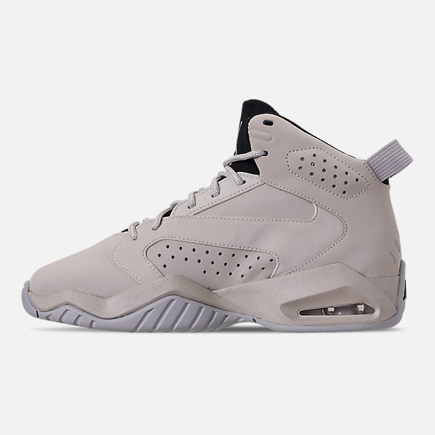 Left view of Boys' Big Kids' Air Jordan Lift Off Basketball Shoes in Light Bone/Reflect Silver/Grey Fog/Black