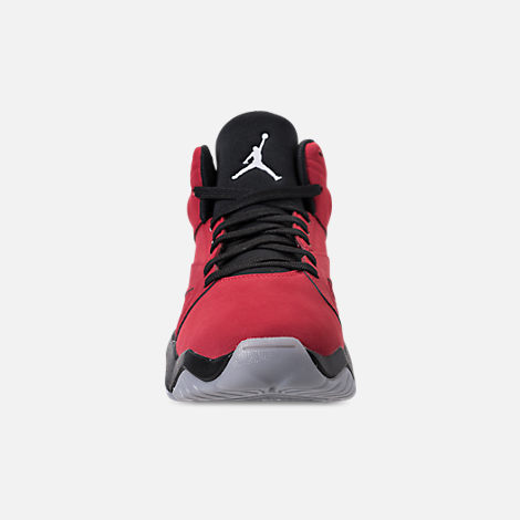 Front view of Boys' Big Kids' Air Jordan Lift Off Basketball Shoes in Gym Red/White/Black/Wolf Grey