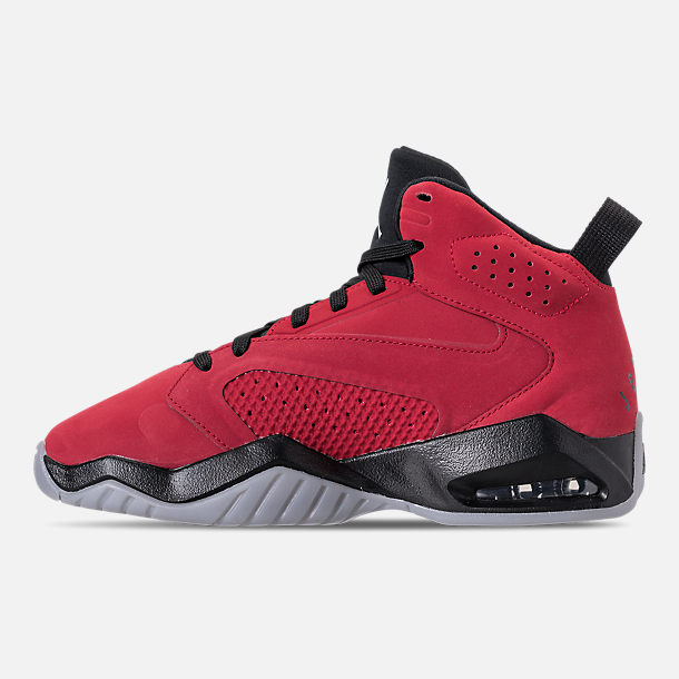 Left view of Boys' Big Kids' Air Jordan Lift Off Basketball Shoes in Gym Red/White/Black/Wolf Grey