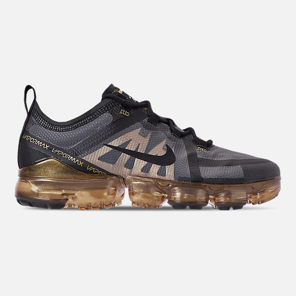 Right view of Men's Nike Air VaporMax 2019 Running Shoes in Black/Black/Metallic Gold