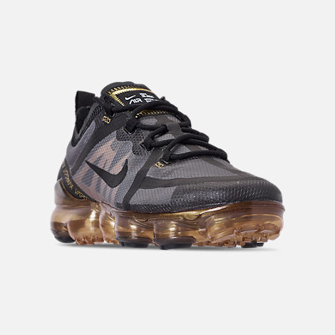 Three Quarter view of Men's Nike Air VaporMax 2019 Running Shoes in Black/Black/Metallic Gold