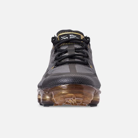 Front view of Men's Nike Air VaporMax 2019 Running Shoes in Black/Black/Metallic Gold