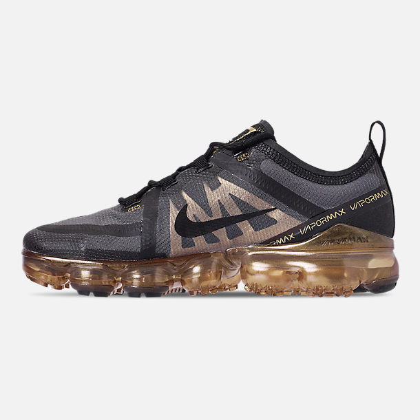 Left view of Men's Nike Air VaporMax 2019 Running Shoes in Black/Black/Metallic Gold