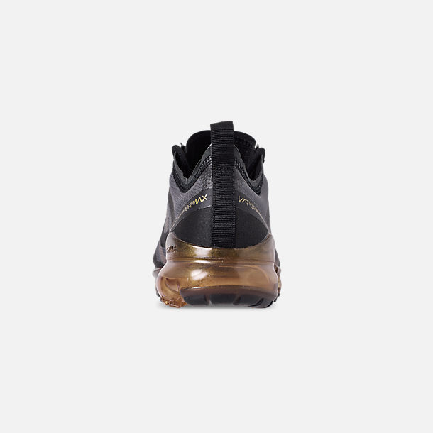 Back view of Men's Nike Air VaporMax 2019 Running Shoes in Black/Black/Metallic Gold