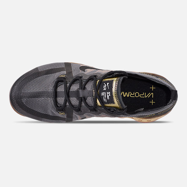 Top view of Men's Nike Air VaporMax 2019 Running Shoes in Black/Black/Metallic Gold