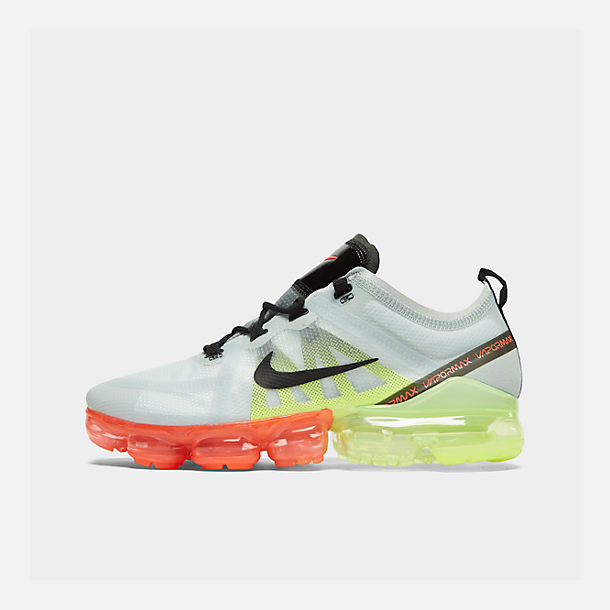 5cc00982110e Right view of Men s Nike Air VaporMax 2019 Running Shoes in Pure Platinum  Black Volt