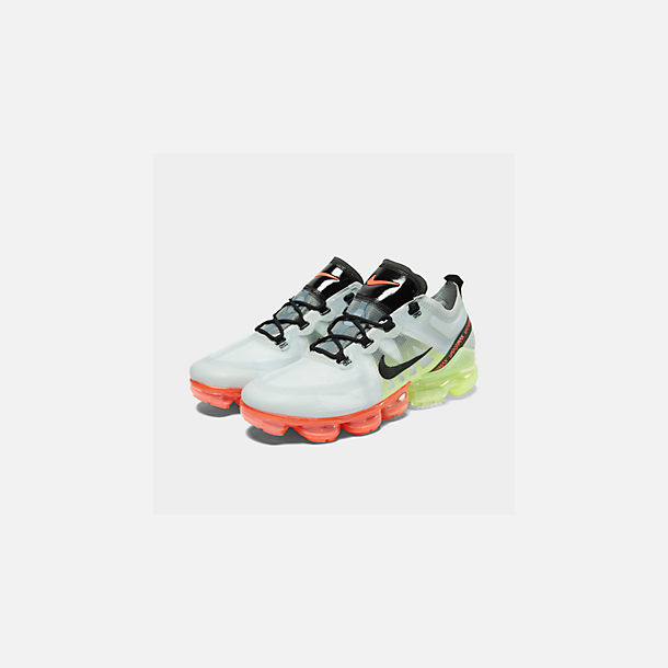 005ebee22a5d7 Three Quarter view of Men s Nike Air VaporMax 2019 Running Shoes in Pure  Platinum Black