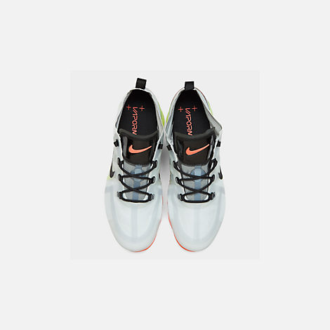 new concept efe1d 47e87 Back view of Men s Nike Air VaporMax 2019 Running Shoes in Pure Platinum  Black Volt
