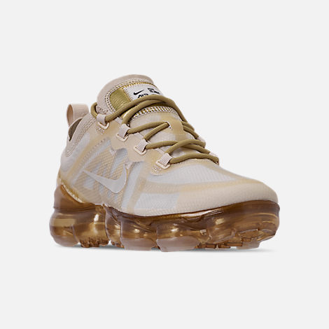 Three Quarter view of Women's Nike Air VaporMax 2019 Running Shoes in Cream/Sail/Light Bone