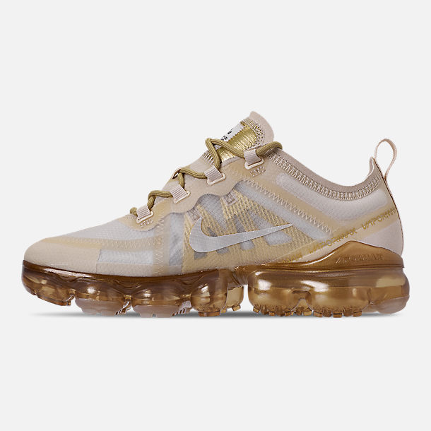 Left view of Women's Nike Air VaporMax 2019 Running Shoes in Cream/Sail/Light Bone