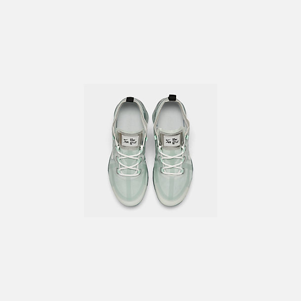 Back view of Women's Nike Air VaporMax 2019 Running Shoes in Ghost Aqua/Summit White/Black/Metal