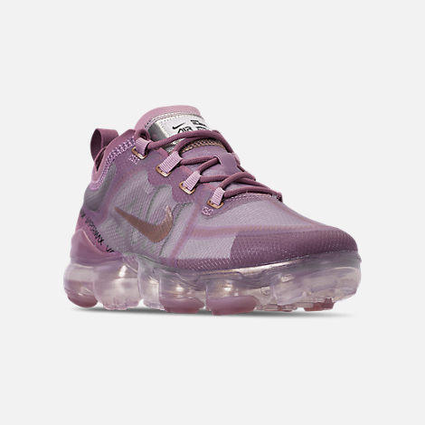 Three Quarter view of Women's Nike Air VaporMax 2019 Running Shoes in Plum Chalk/Metallic Red Bronze/Plum Dust