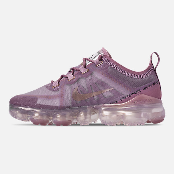 Left view of Women's Nike Air VaporMax 2019 Running Shoes in Plum Chalk/Metallic Red Bronze/Plum Dust