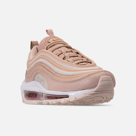 Three Quarter view of Women's Nike Air Max 97 Lux Casual Shoes in Bio Beige/Light Carbon