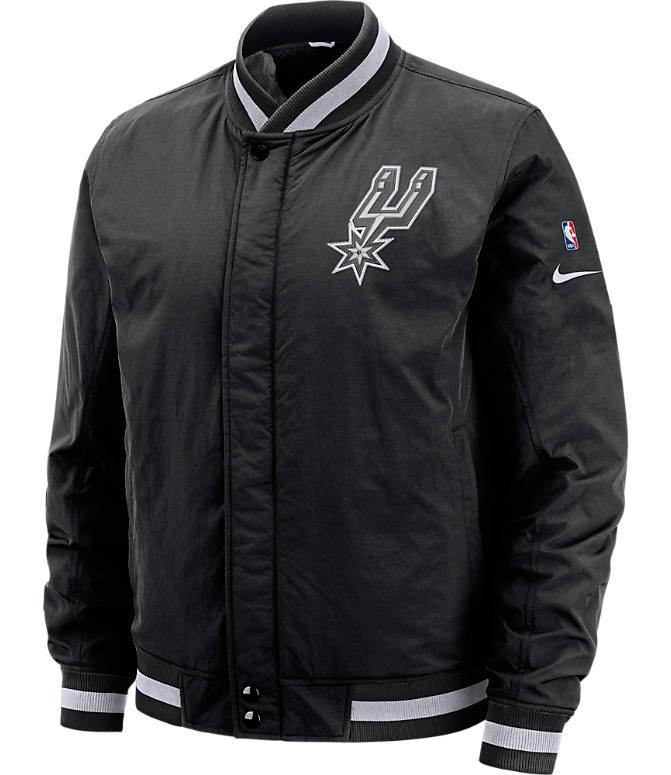 Front view of Men's Nike San Antonio Spurs NBA Courtside Jacket in Black