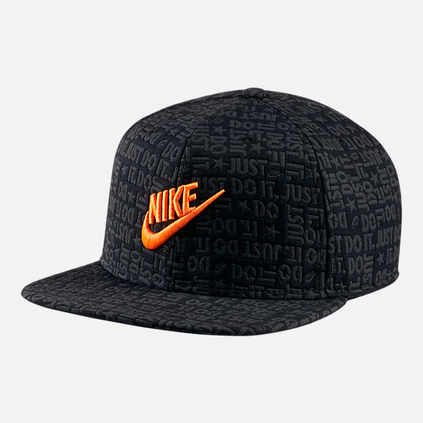 Front view of Unisex Nike Sportswear Pro Just Do It Snapback Hat in Black/Total Orange